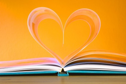 Book pages made into a heart shape