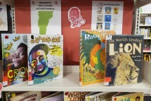 Red Clover picture books on display.